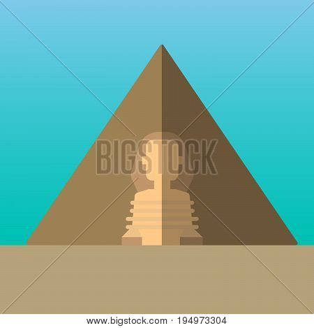 Egypt pyramids and Great Sphinx in Giza vector illustration. Flat style icon. Most famous world landmark. Travel flat design vector graphics