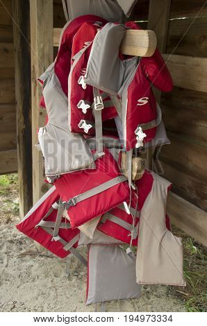 Life vest hang ready for free use in the Goose Creek State Park