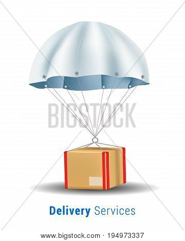 Package are flying on parachute.Delivery Services and E-Commerce Concept.