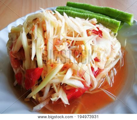 Close-up of green papaya salad (or