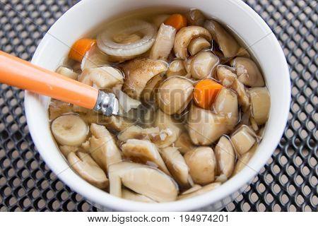 Loaded mushrooms (wildlife) in a sweet-sour brine.