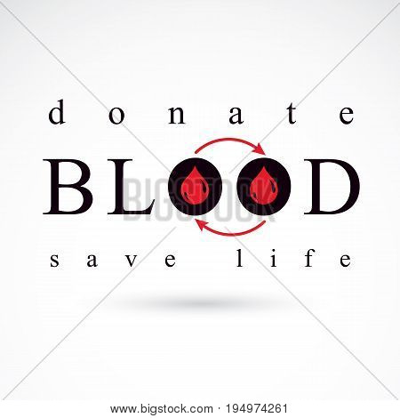 Blood donation vector symbol created with red blood drops and arrows. Blood transfusion metaphor medical care emblem.