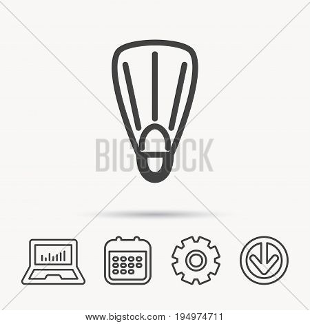Swimming flippers icon. Diving sign symbol. Notebook, Calendar and Cogwheel signs. Download arrow web icon. Vector