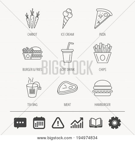 Hamburger, pizza and soft drink icons. Tea bag, meat and chips fries linear signs. Ice cream, carrot icons. Education book, Graph chart and Chat signs. Attention, Calendar and Cogwheel web icons