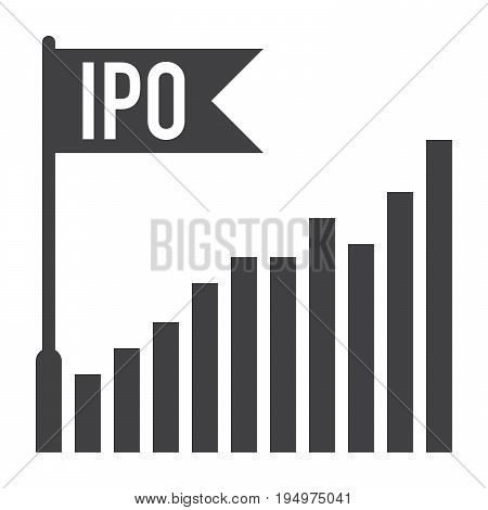 IPO concept with bar chart and flag, vector silhouette