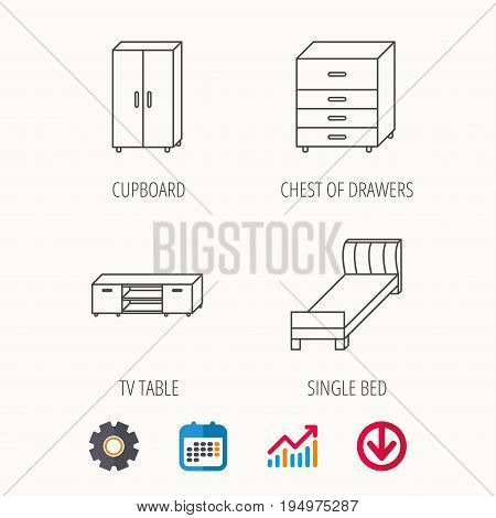 Single bed, TV table and cupboard icons. Chest of drawers linear sign. Calendar, Graph chart and Cogwheel signs. Download colored web icon. Vector