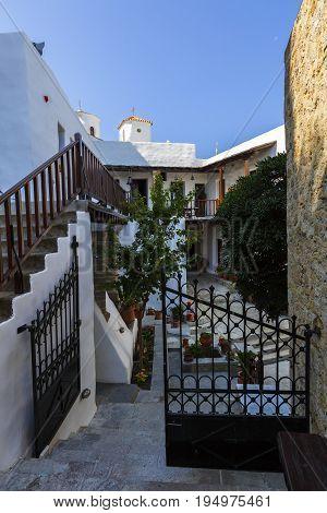 SKYROS, GREECE - JUNE 17, 2017: Monastery in the castle of Chora on Skyros island, Greece on June 17, 2017.