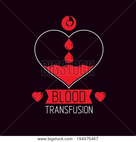 Vector illustration of heart shape. Blood transfusion concept charity and volunteer conceptual logo for use in medical care advertisement.