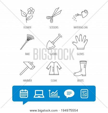 Scissors, hammer and gloves icons. Shovel, watering can and rake linear signs. Cloak, boots and flower flat line icons. Report file, Graph chart and Chat speech bubble signs. Vector