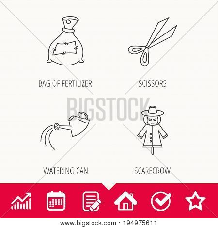 Scissors, watering can and watering can icons. Bag of fertilizer linear sign. Edit document, Calendar and Graph chart signs. Star, Check and House web icons. Vector