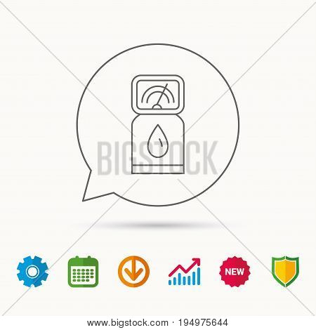 Gas station icon. Petrol fuel pump sign. Calendar, Graph chart and Cogwheel signs. Download and Shield web icons. Vector