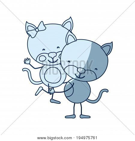 blue color shading silhouette caricature with couple of cats one carrying the other cute animals love vector illustration