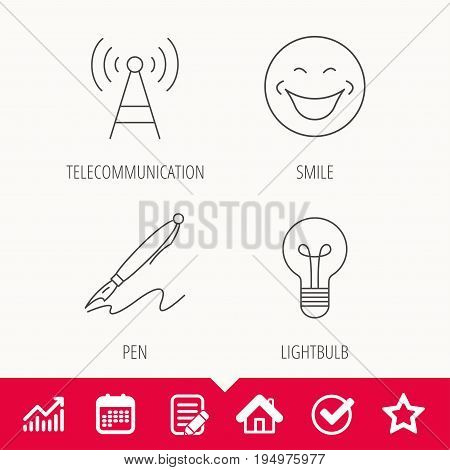 Pen, telecommunication and lightbulb icons. Smiling face linear sign. Edit document, Calendar and Graph chart signs. Star, Check and House web icons. Vector