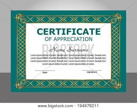 Retro vintage certificate appreciation template. Vector illustration.