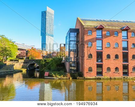 Bridges and canals of the Castlefield, an inner city conservation area, Manchester, England, United Kingdom