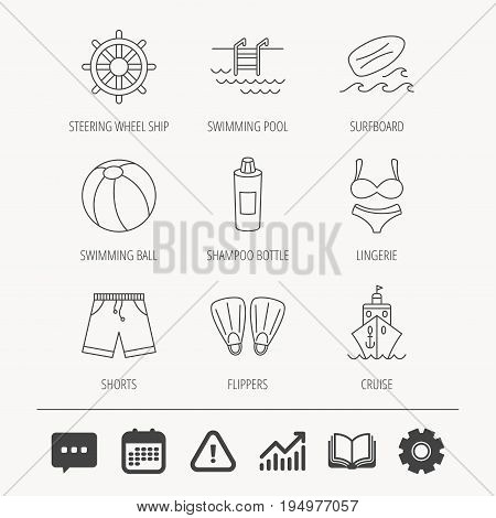Surfboard, swimming pool and trunks icons. Beach ball, lingerie and shorts linear signs. Flippers, cruise ship and shampoo icons. Education book, Graph chart and Chat signs. Vector