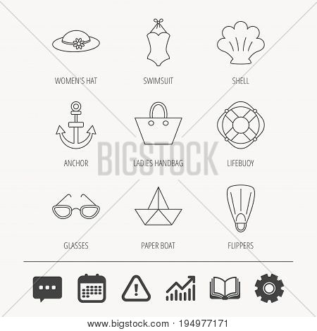 Paper boat, shell and swimsuit icons. Lifebuoy, glases and women hat linear signs. Anchor, ladies handbag icons. Education book, Graph chart and Chat signs. Attention, Calendar and Cogwheel web icons
