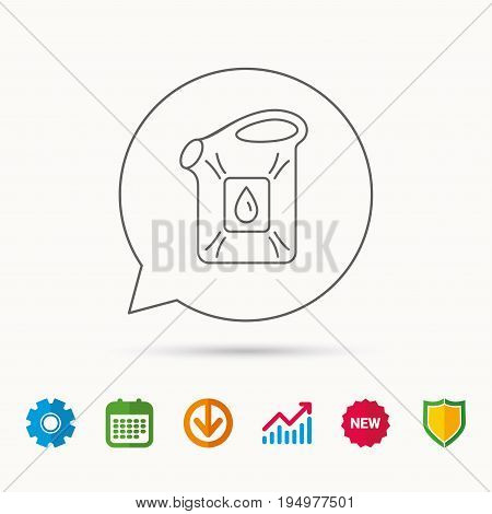 Jerrycan icon. Petrol fuel can with drop sign. Calendar, Graph chart and Cogwheel signs. Download and Shield web icons. Vector