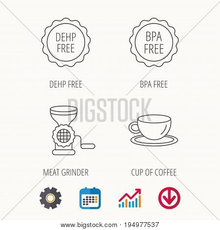 Coffee cup, meat grinder and BPA free icons. DEHP free linear sign. Calendar, Graph chart and Cogwheel signs. Download colored web icon. Vector