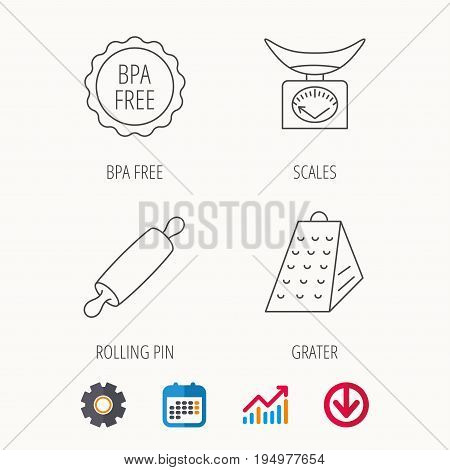 Kitchen scales, rolling pin and grater icons. BPA free linear sign. Calendar, Graph chart and Cogwheel signs. Download colored web icon. Vector