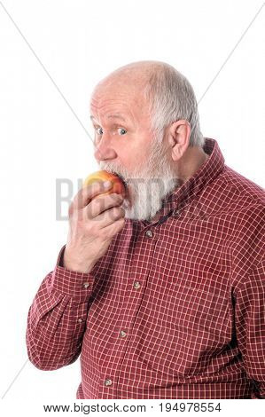 Cheerful and smiling handsome bald and bearded senior man eating the apple, isolated on white background
