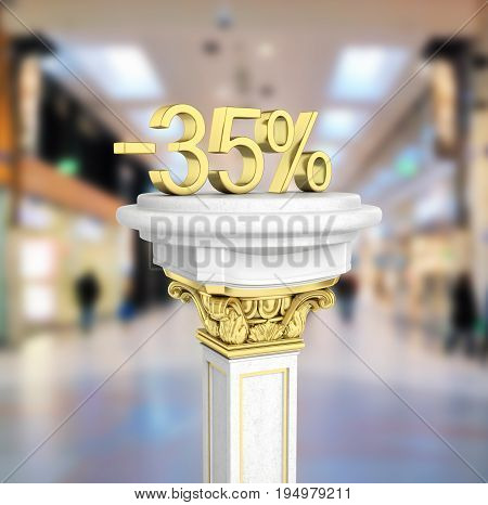 Gold Text 35 Percent Off Standing On The Pedestal Isolated On Shopping Center Background 3D Render