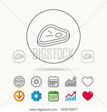 Meat icon. Beef steak sign. Barbecue meat slice symbol. Calendar, Graph chart and Cogwheel signs. Download and Heart love linear web icons. Vector