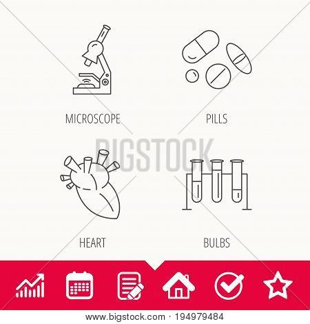 Microscope, medical pills and heart icons. Lab bulbs linear sign. Edit document, Calendar and Graph chart signs. Star, Check and House web icons. Vector