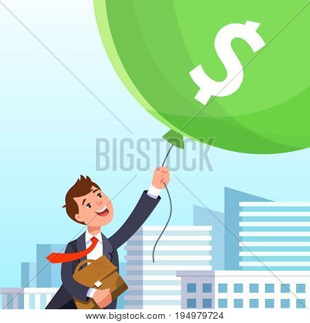 Happy businessman in business suit flying in the sky holding balloons with dollar sign on background of urban landscape. Concept of success wealth abundance