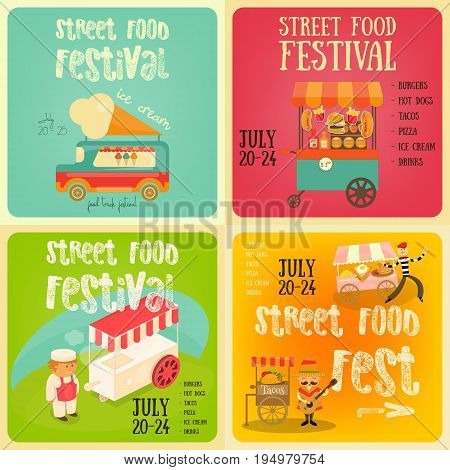 Street Food and Fast Food Truck Festival on Square Posters Set. Template Design. Vector Illustration.