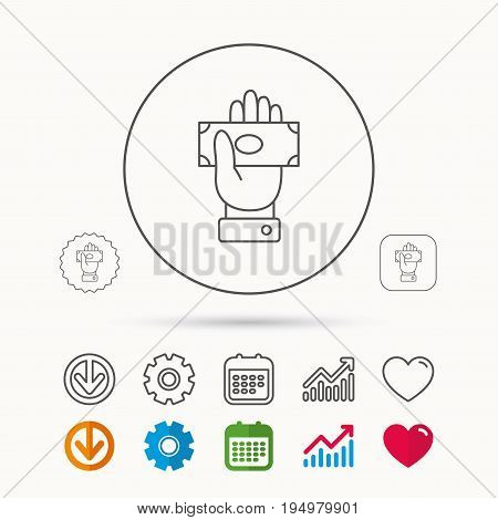 Money icon. Cash in giving hand sign. Payment symbol. Calendar, Graph chart and Cogwheel signs. Download and Heart love linear web icons. Vector