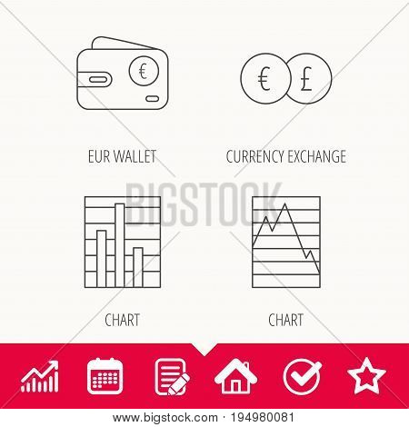 Currency exchange, chart and euro wallet icons. Statistics graph linear signs. Edit document, Calendar and Graph chart signs. Star, Check and House web icons. Vector