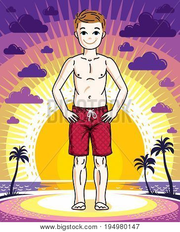 Cute happy young teen boy posing wearing fashionable beach shorts. Vector human illustration. Childhood lifestyle cartoon.