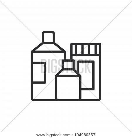 Detergent containers line icon outline vector sign linear style pictogram isolated on white. Symbol logo illustration. Editable stroke. Pixel perfect graphics