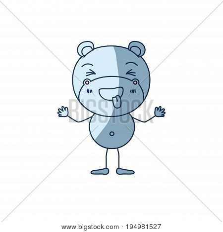 blue color shading silhouette caricature of cute hippopotamus disgust expression and sticking out tongue vector illustration