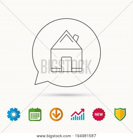 Real estate icon. House building sign. Real-estate property symbol. Calendar, Graph chart and Cogwheel signs. Download and Shield web icons. Vector