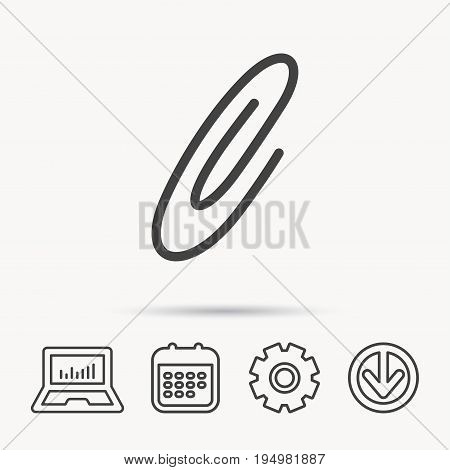 Safety pin icon. Paperclip sign. Notebook, Calendar and Cogwheel signs. Download arrow web icon. Vector