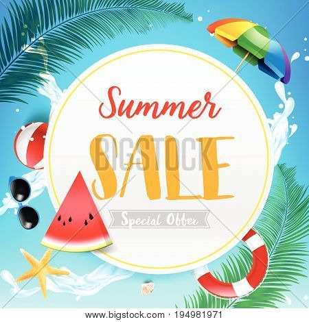 Summer sale titile on white circle over Abstract background top view of sand and sea beach starfish shell rock and umbrella for summer vacation promotion concept vector illustration eps10