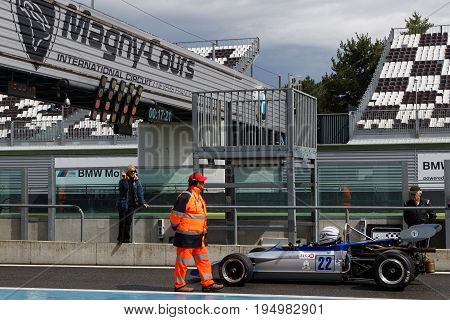 MAGNY-COURS FRANCE June 30 2017 : Start in the rain. The First French Historic Grand Prix takes place in Magny-Cours with a lot of ancient sports and Formula one cars.