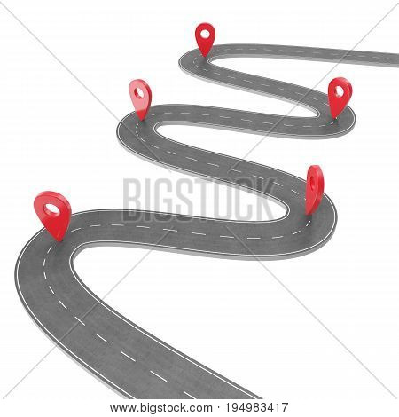 Road infographic with pin pointer. Navigation concept with pin pointer. Map marker pointer on road map. Cartography mapping. Street road map for business infographics design. 3D rendering