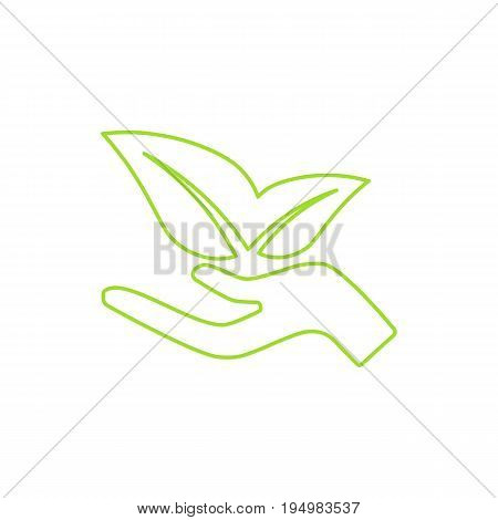Ecological icon. Human hand growing leaves. Green technologies