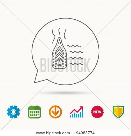 Steam ironing icon. Iron housework tool sign. Calendar, Graph chart and Cogwheel signs. Download and Shield web icons. Vector
