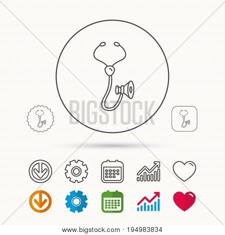 Stethoscope icon. Medical doctor equipment sign. Pulmology symbol. Calendar, Graph chart and Cogwheel signs. Download and Heart love linear web icons. Vector