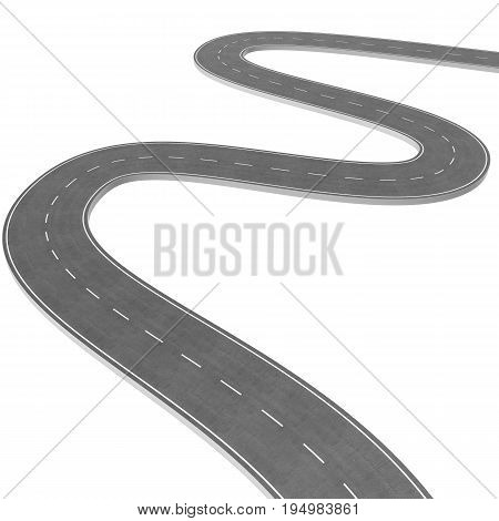 Winding Road isolated on White Background. Road way location infographic template. Two-way road bending on a white background. Asphalt road with turns. 3D rendering