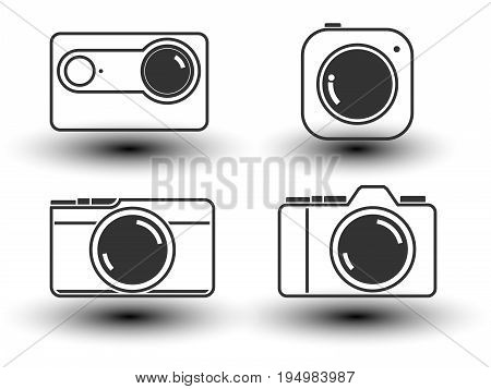 Camera with lens in flat icon.isolate on white background. Vector illustration.