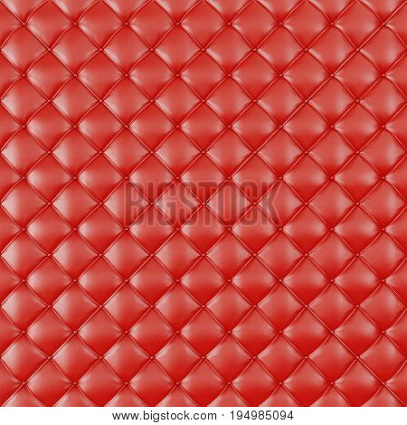 Leather Upholstery Sofa Background. Red Luxury Decoration Sofa. Elegant Red Leather Texture With Buttons For Pattern and Background. Leather Texture for Graphic Resource. 3D Rendering