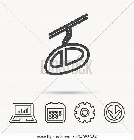 Teleferic icon. Telpher cable-railway sign. Notebook, Calendar and Cogwheel signs. Download arrow web icon. Vector