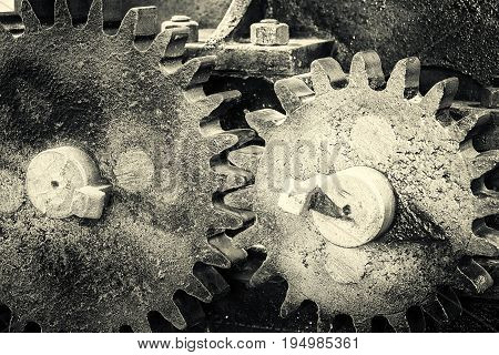 Gears cog wheels closeup. Industrial background in black and white