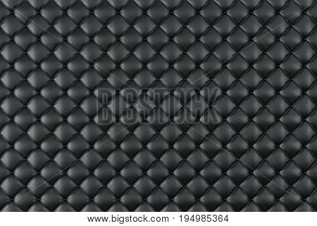Leather Upholstery Sofa Background. Black Luxury Decoration Sofa. Elegant Black Leather Texture With Buttons For Pattern and Background. Leather Texture for Graphic Resource, 3D Rendering