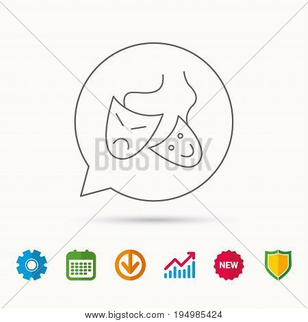 Theater masks icon. Drama and comedy sign. Masquerade or carnival symbol. Calendar, Graph chart and Cogwheel signs. Download and Shield web icons. Vector